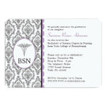 "Nurse Graduation BSN RN black lavender damask 5"" X 7"" Invitation Card"