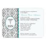 "Nurse Graduation BSN RN black turquoise damask 5"" X 7"" Invitation Card"
