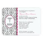 "Nurse Graduation BSN RN CUSTOMIZABLE black pink 5"" X 7"" Invitation Card"