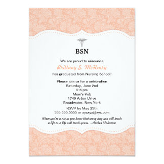 "Nurse graduation coral damask BSN RN LPN CNA etc 5"" X 7"" Invitation Card"