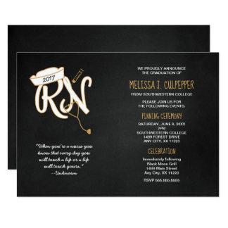 Nurse graduation invite, black gold, RN pinning Card