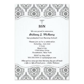 "Nurse graduation modern damask BSN RN LPN CNA etc 5"" X 7"" Invitation Card"