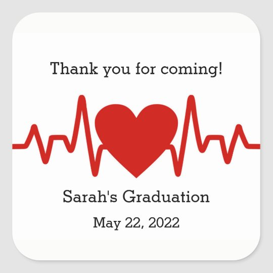 Nurse graduation party favour sticker / heart beat