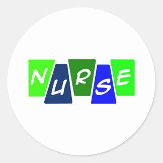 Nurse - Green Blue Round Sticker