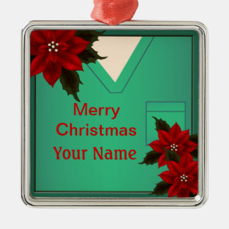 Nurse Green Scrubs Christmas Premium Ornament 5