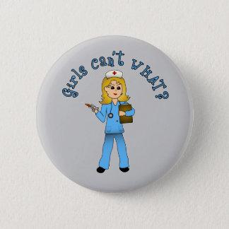 Nurse in Blue Scrubs (Blonde) 2 Inch Round Button