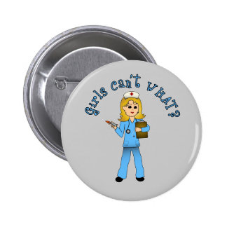 Nurse in Blue Scrubs (Blonde) 2 Inch Round Button