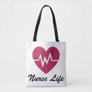 Nurse Life, EKG Heart Pattern Tote