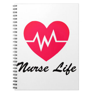 Nurse Life Red EKG Heart Notepad Notebook