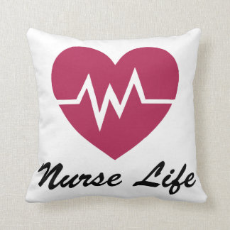 Nurse Life Red EKG Heart Pillow