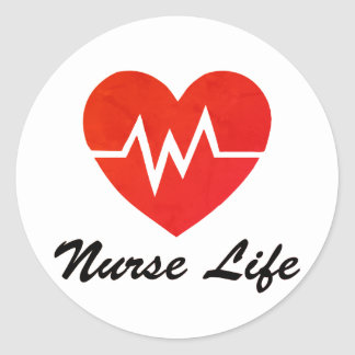 Nurse Life Red EKG Heart Stickers