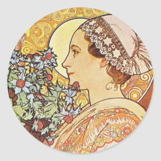Nurse Maid Alphonse Mucha Art Classic Round Sticker