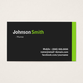 Nurse - Modern Minimalist Green Business Card