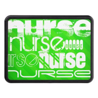 Nurse; Neon Green Stripes Hitch Covers