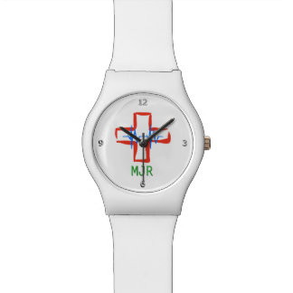 Nurse or Medical staff stylized red cross and ecg Watch