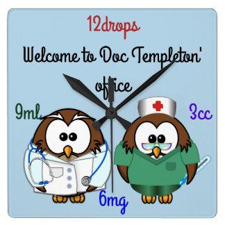 nurse owl & doc owl wallclock