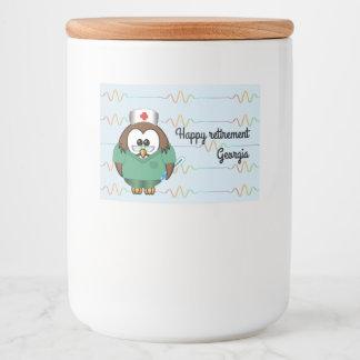 nurse owl - glass jar food label