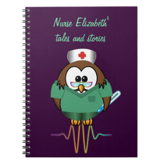 nurse owl spiral notebook
