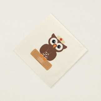 Nurse Owl (w/bandaid) Disposable Napkin