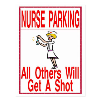 Nurse Parking Only Postcard