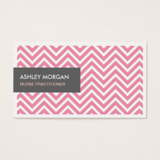 Nurse Practitioner - Light Pink Chevron Zigzag Business Card