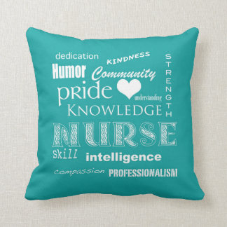 Nurse Pride-Attributes/Blue-Green Throw Pillow