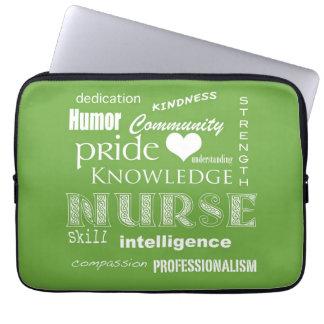 Nurse Pride-Attributes/Lime Green-13 inch Laptop Sleeve