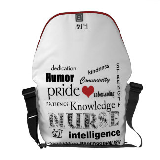 Nurse Pride-Attributes/Red Heart+Initials Commuter Bags