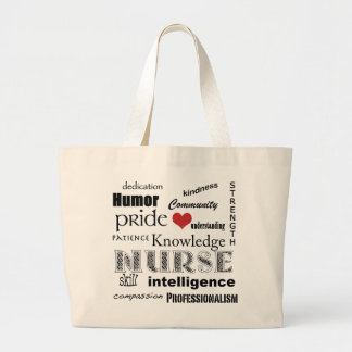 Nurse Pride-Attributes+red heart Large Tote Bag