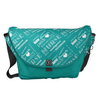 Nurse Pride-Attributes/Turquoise+White Heart Messenger Bags