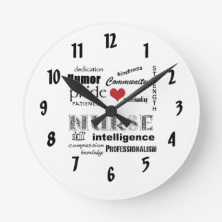 Nurse Pride-Attributes/with red heart Round Clock
