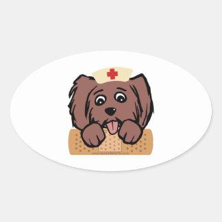 Nurse Pup Oval Sticker