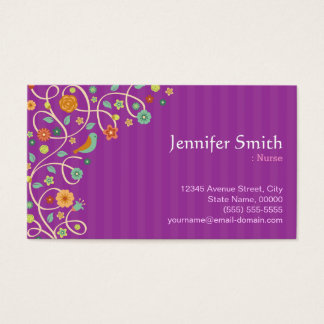 Nurse - Purple Nature Theme Business Card