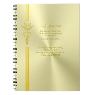 Nurse record keeping with golden caduceus notebooks