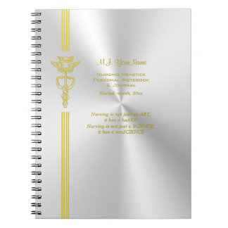 Nurse record keeping with golden caduceus spiral notebook