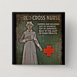 Nurse Requesting Donations WWI 2 Inch Square Button