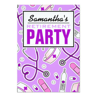 "Nurse Retirement Party Purple 5"" X 7"" Invitation Card"