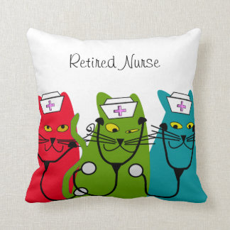 "Nurse Retirement Pillow ""Fat Cats"""