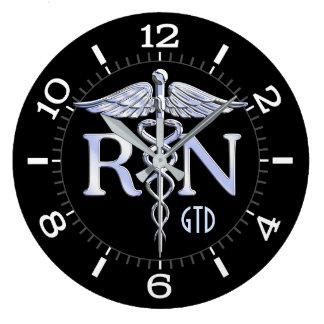 Nurse RN Caduceus Monogram Dial Style on Black Wallclocks