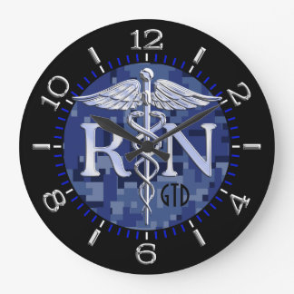 Nurse RN Caduceus Monogram Dial Style on Blue Camo Large Clock