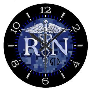 Nurse RN Caduceus Monogram Dial Style on Blue Camo Wall Clocks