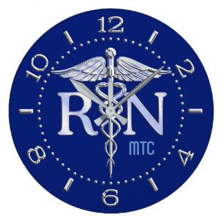 Nurse RN Caduceus Monogram Dial Style on Blue Wall Clock