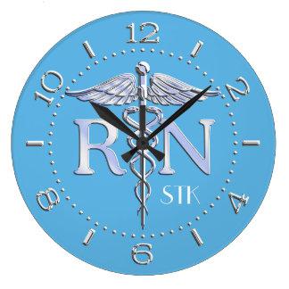 Nurse RN Caduceus Monogram Dial Style on Blue Wall Clocks