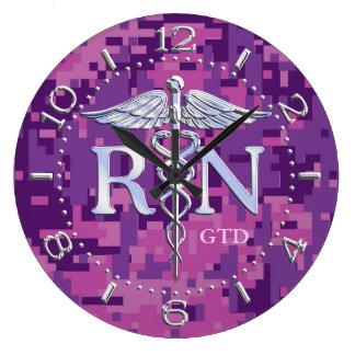 Nurse RN Caduceus Monogram Dial Style on Pink Camo Large Clock