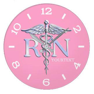 Nurse RN Caduceus Monogram Dial Style on Pink Wallclocks