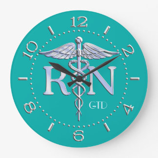 Nurse RN Caduceus Monogram Dial Style on Turquoise Wall Clock