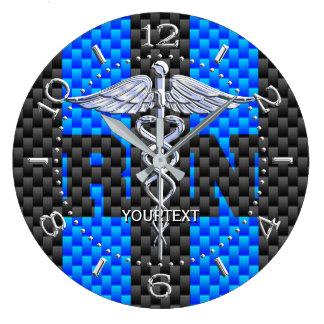 Nurse RN Caduceus Personalized Style Blue Carbon Clock