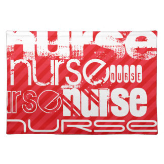 Nurse; Scarlet Red Stripes Place Mats