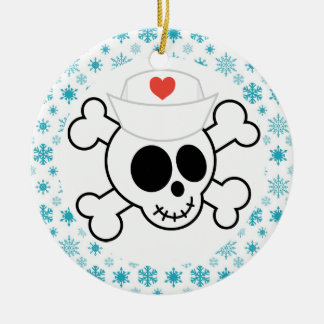 Nurse Skull Funny Nursing Christmas Keepsake Ceramic Ornament