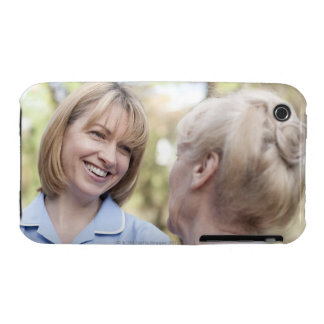 Nurse smiling and talking to a senior woman Case-Mate iPhone 3 cases